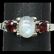 14k Moonstone & Garnet Ring, FREE SIZING