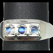 14k Rainbow Moonstone Men's Ring, FREE SIZING