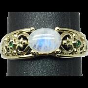 14k Rainbow Moonstone & Tsavorite Ring, FREE SIZING