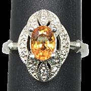 14k Mandarin Garnet Ring, FREE SIZING