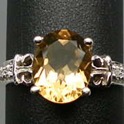 14kt Citrine & Diamonds Ring; FREE SIZING
