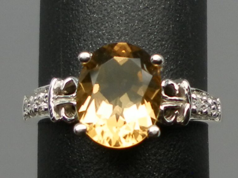 14kt Citrine & Diamonds Ring; FREE SIZING