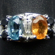 Natural Mandarin Garnet, Blue Zircon & Onyx Silver Ring; FREE SIZING.