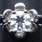 14kt Aquamarine & blue Sapphire Ring; FREE SIZING