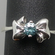 Vintage 14kt Blue Zircon Ring; FREE SIZING.