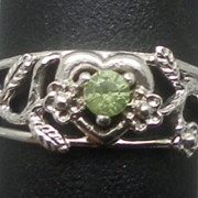 Vintage 14kt Demantoid Garnet Ring; FREE SIZING.
