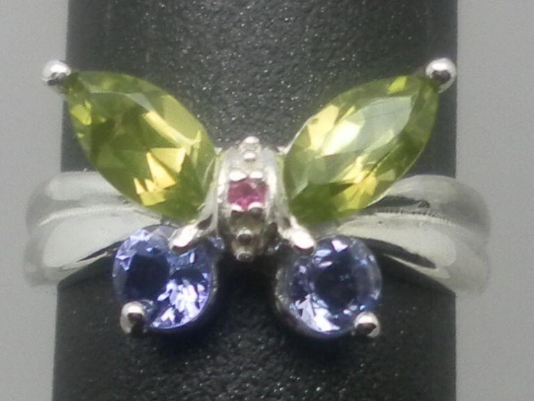 Vintage Natural Peridot, Tanzanite & Ruby Sterling Silver Ring.