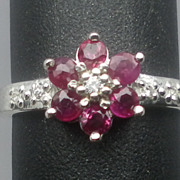 Vintage 14kt Ruby & Diamonds Ring; FREE RE-SIZE