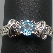Vintage 14kt Blue Zircon Ring; FREE SIZING