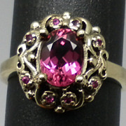 Vintage 14kt Pink Tourmaline & Ruby Ring.