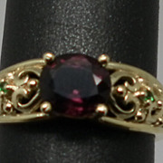 Vintage 14kt Spinel & Emerald  Ring
