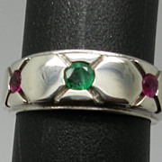 Vintage 14kt  Emerald & Ruby  Men's Ring
