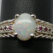 Vintage 14kt Australian Opal & Ruby Ring; FREE SIZING.
