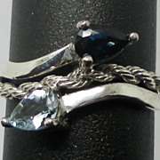 Vintage 14kt Blue Sapphire & Aquamarine Ring.