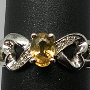 Vintage 14kt Yellow Sapphire & Diamonds Ring.