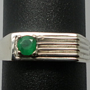 Vintage 14kt Emerald Men's Ring; FREE SIZING