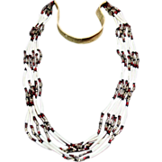 SOLD Native American Dentalium Shell and Bead Necklace