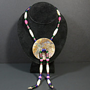 SOLD Native American Indian Abalone Shell Disc Beaded Necklace