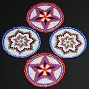SOLD Native American Indian Hand Beaded Matching Rosettes