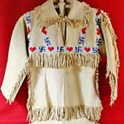 SOLD Native American Boy's Beaded Buckskin Shirt and Pants