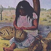SOLD Native American Post Card Basket Maker
