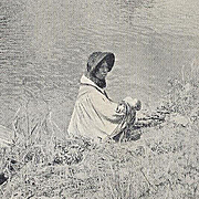 NATIVE AMERICAN SEMINOLE  WITH CANOE POST CARD