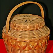 SALE Native American Northeastern Lidded Fancy Basket