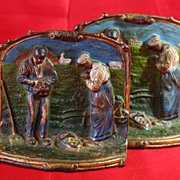 SALE PENDING Vintage Handpainted Bookends, Book Ends, Prayer