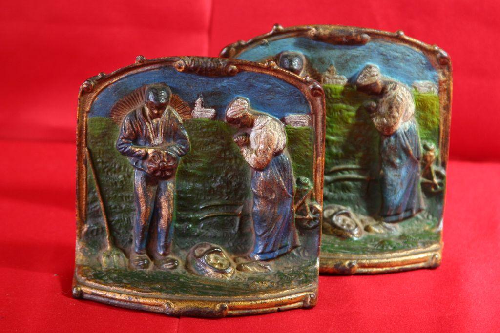 Vintage Handpainted Bookends, Book Ends, Prayer