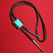Native American Indian Turquoise Sterling Silver Bolo Tie Slide