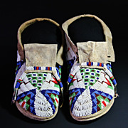 SOLD Native American Beaded Sioux Man's Moccasins