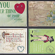 4 Antique Valentine Postcards With Hearts and Cupid