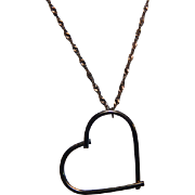 """Large 14K Chocolate Gold Heart Pendant Necklace with 24"""" Inch Singapore Chain"""