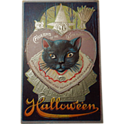 SOLD Vintage 1911 Postmarked M.L. Jackson Halloween Black Cat Collectible Postcard