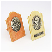 French  Mary and Jesus Devotional Images on Bakelite Stands