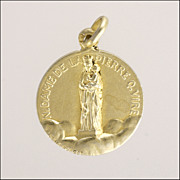 French Antique Small Silver Gold Washed Mary& and Jesus Medal - Penin Poncet