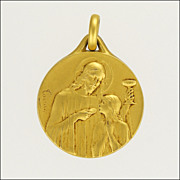French Gold Filled Fix First Communion Medal 1922 - Tairac