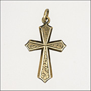 Victorian 9K Gold Engraved Cross Charm