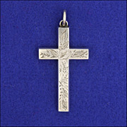"""Victorian Sterling Silver Engraved Cross -2½"""" -6.5 grams"""