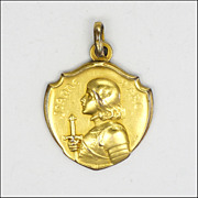 French Circa 1900 Joan of Arc Gold Plated Medal - KINSEURGER