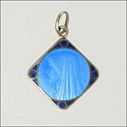 French Art Deco Silver Enamel Mary Lourdes Charm
