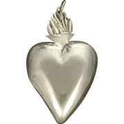 Polish Silver Large Flaming Heart Pendant