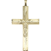 SALE European Large Engraved Silver Cross