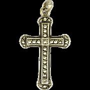 European Silver & Marcasite Cross Pendant