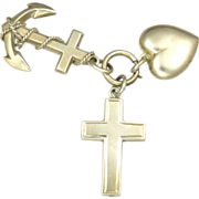 English Victorian Large 1892 Faith Hope & Charity Silver Charms