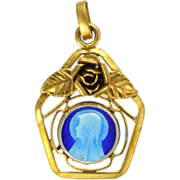 French Gold Plated Rose and Enamel Mary Charm