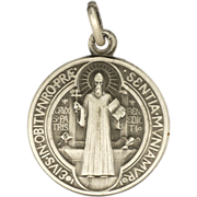 French St Benedict Silver Plated Medal