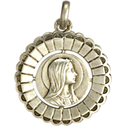 French Silver Mary Pendant
