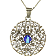 French Silver Plated & Enamel Virgin & Child Necklace