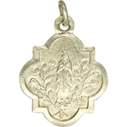 French Silver Our Lady Lourdes Medal /Charm